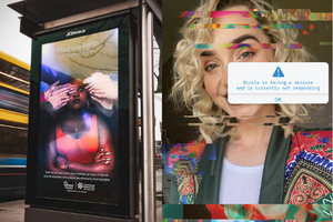 Image of bus stop with our 2020 International Epilepsy Day Campaign and an image of one of the faces behind our International Epilepsy Day 2021 campaign