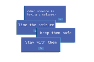 Time Safe Stay image - the three key words Epilepsy Ireland asks people to remember when responding to a seizure.