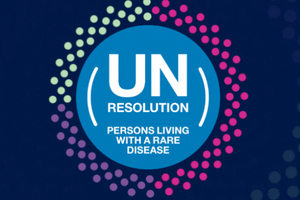 Promotional logo being used by international organisations for the adoption of UN resolution on rare diseases